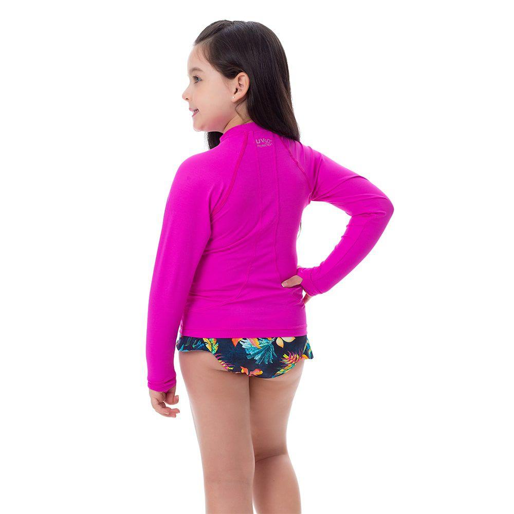 Camisa UV Feminina Infantil  +50 Lisa Rosa