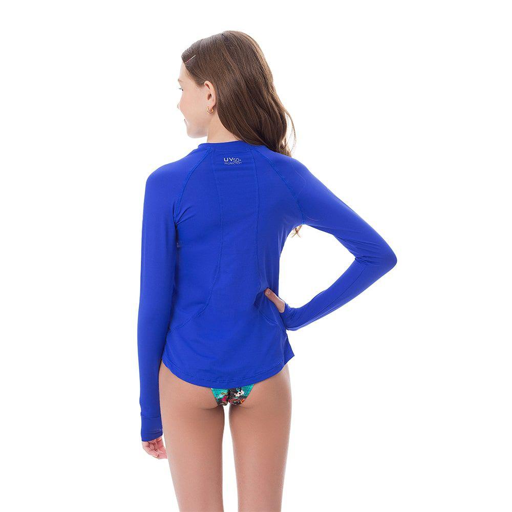 Camisa UV Feminina Juvenil +50 Azul Royal Manga Longa