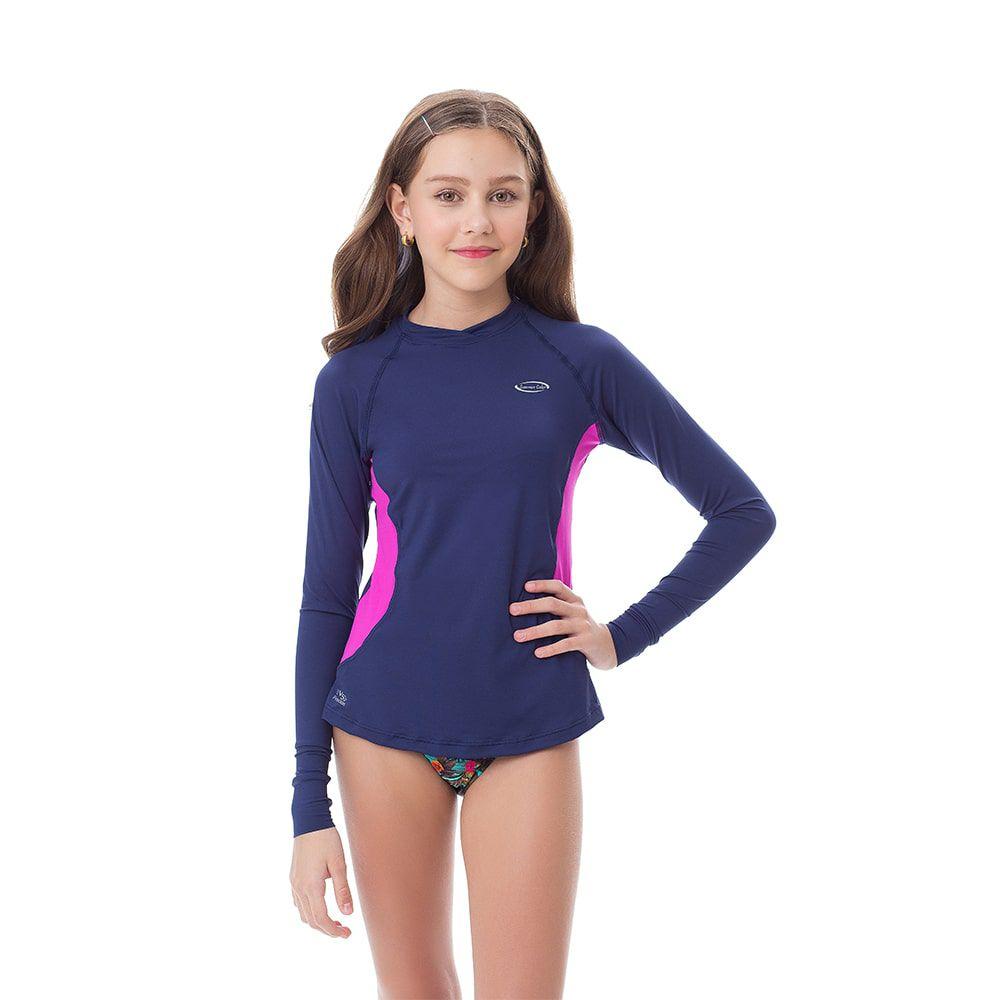 Camisa UV Feminina Juvenil +50 Azul Marinho Manga Longa