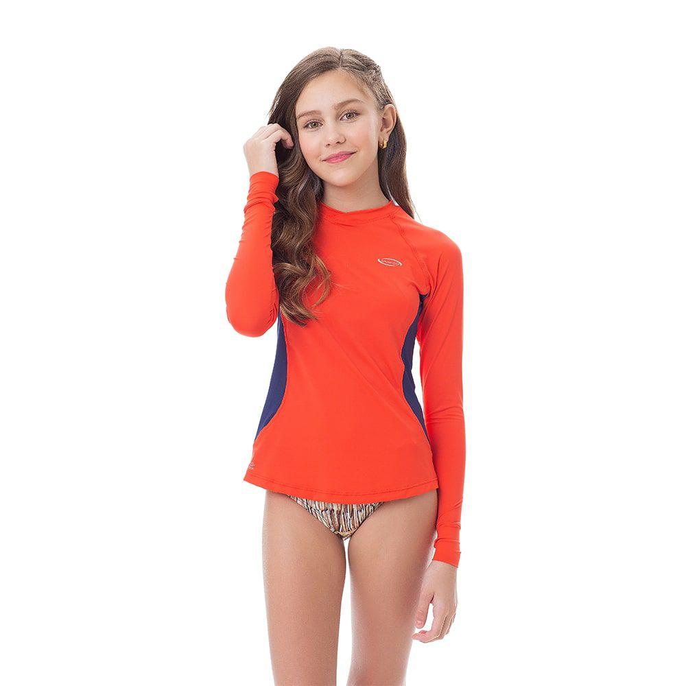 Camisa UV Feminina Juvenil +50 Laranja Manga Longa
