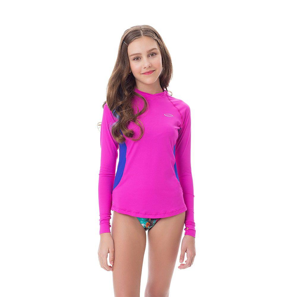 Camisa UV Feminina Juvenil +50 Rosa Manga Longa
