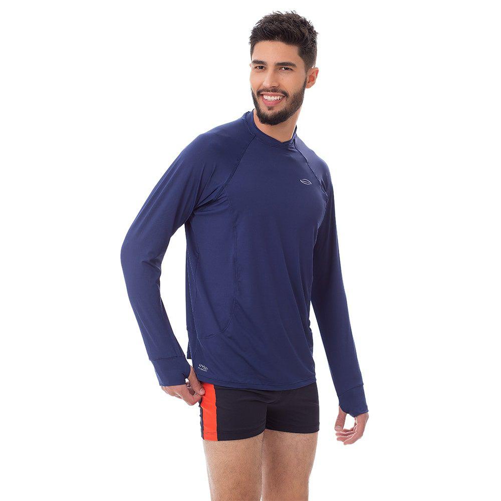 Camisa UV Masculina +50 Manga Longa Azul Marinho