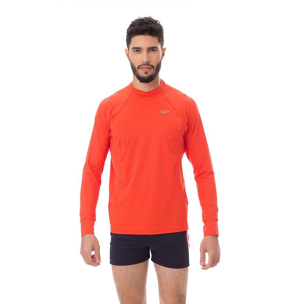 Camisa UV Masculina +50 Manga Longa Laranja