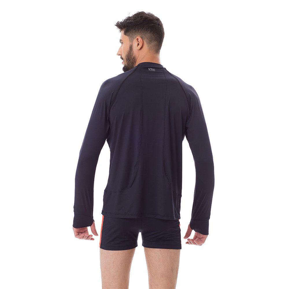 Camisa UV Masculina +50 Manga Longa Preta