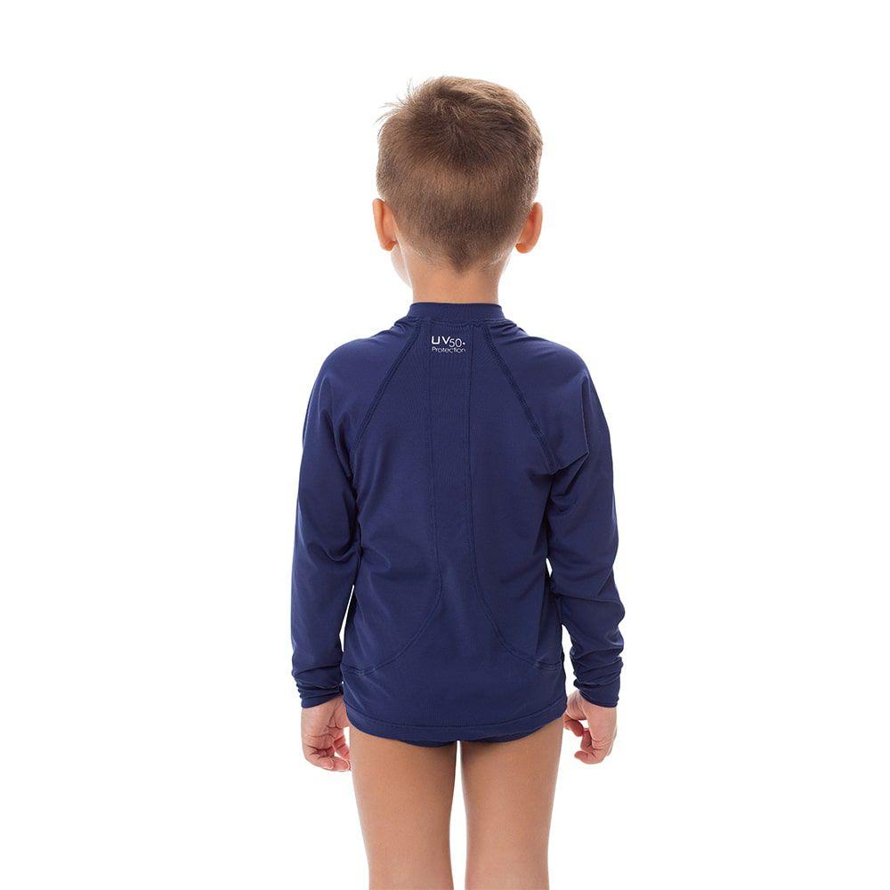 Camisa UV Masculina Infantil  +50 Lisa Azul Marinho