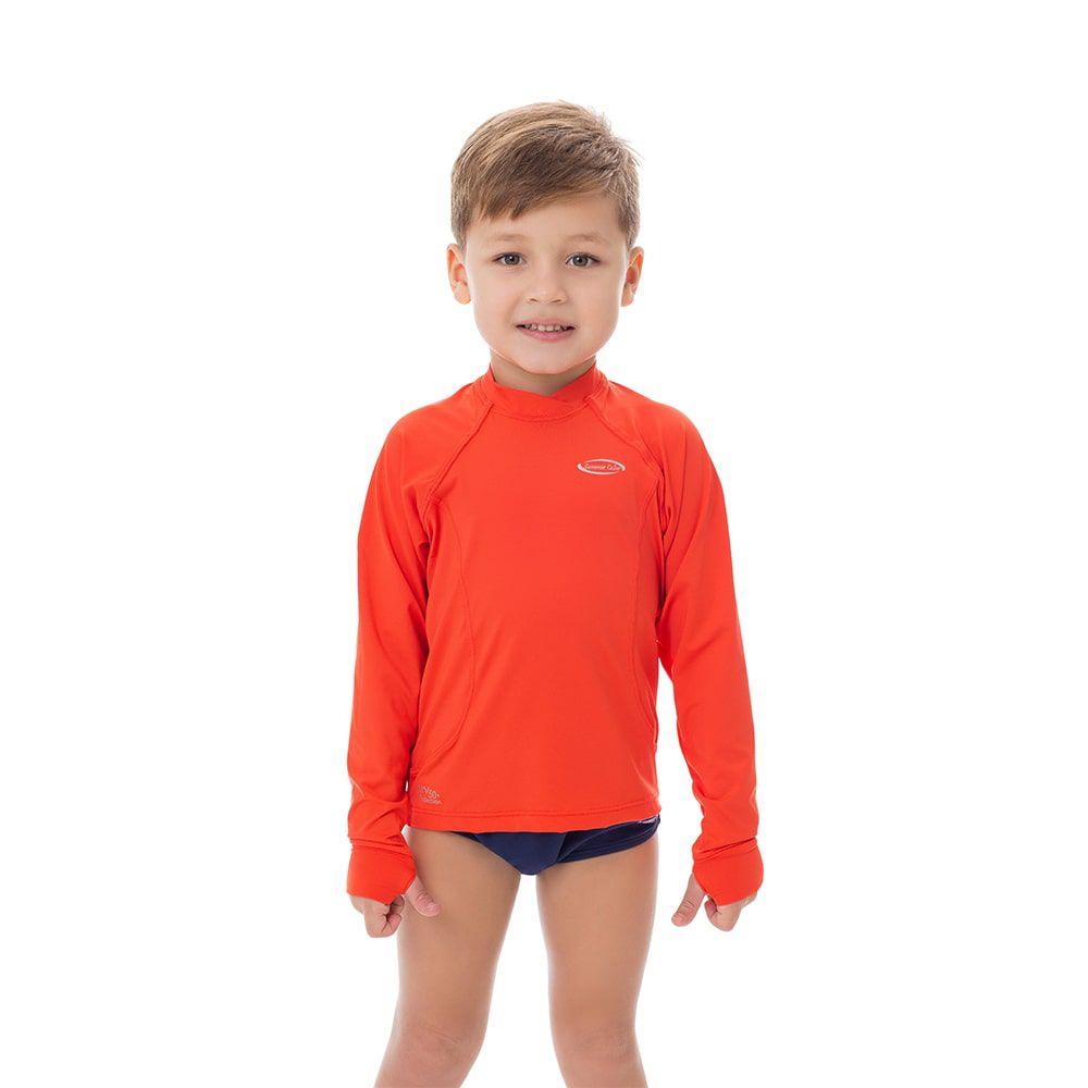 Camisa UV Masculina Infantil  +50 Lisa Laranja