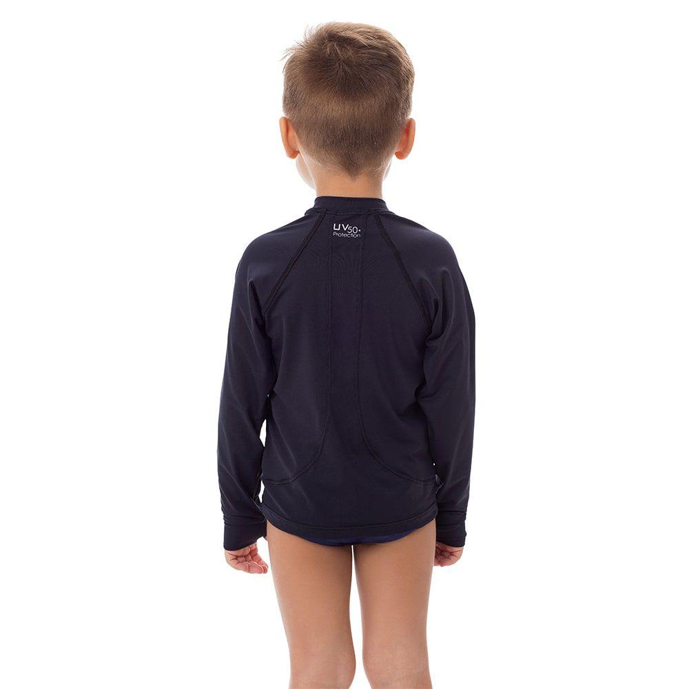Camisa UV Masculina Infantil  +50 Lisa Preta
