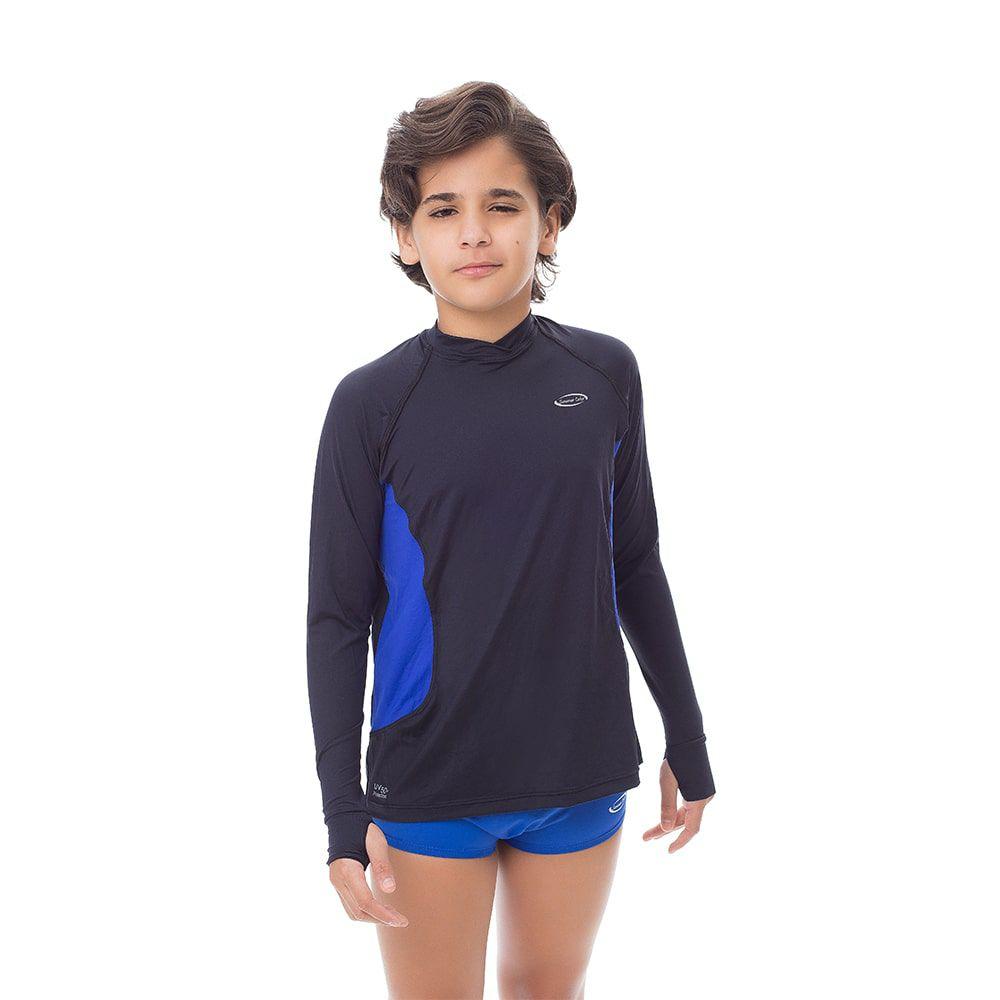 Camisa UV Masculina Juvenil +50 Lisa Preta