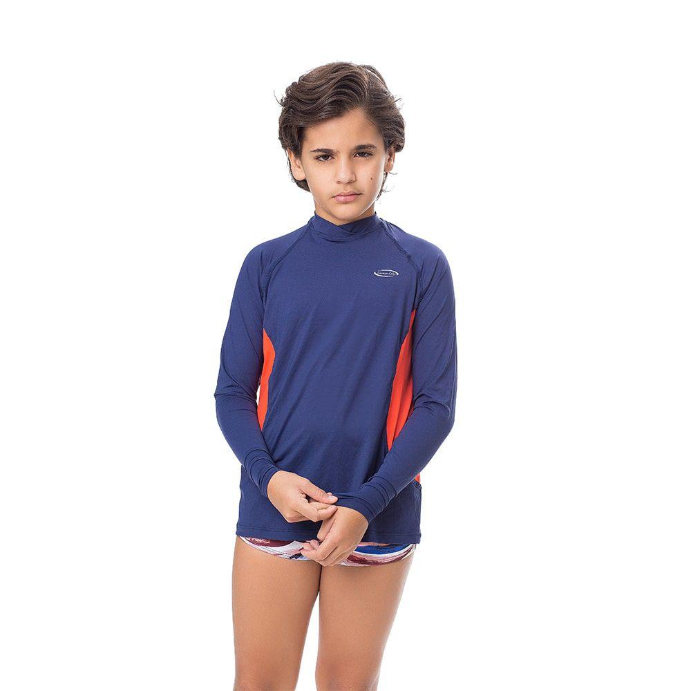 Camisa UV Masculina Juvenil +50 Lisa Azul Marinho