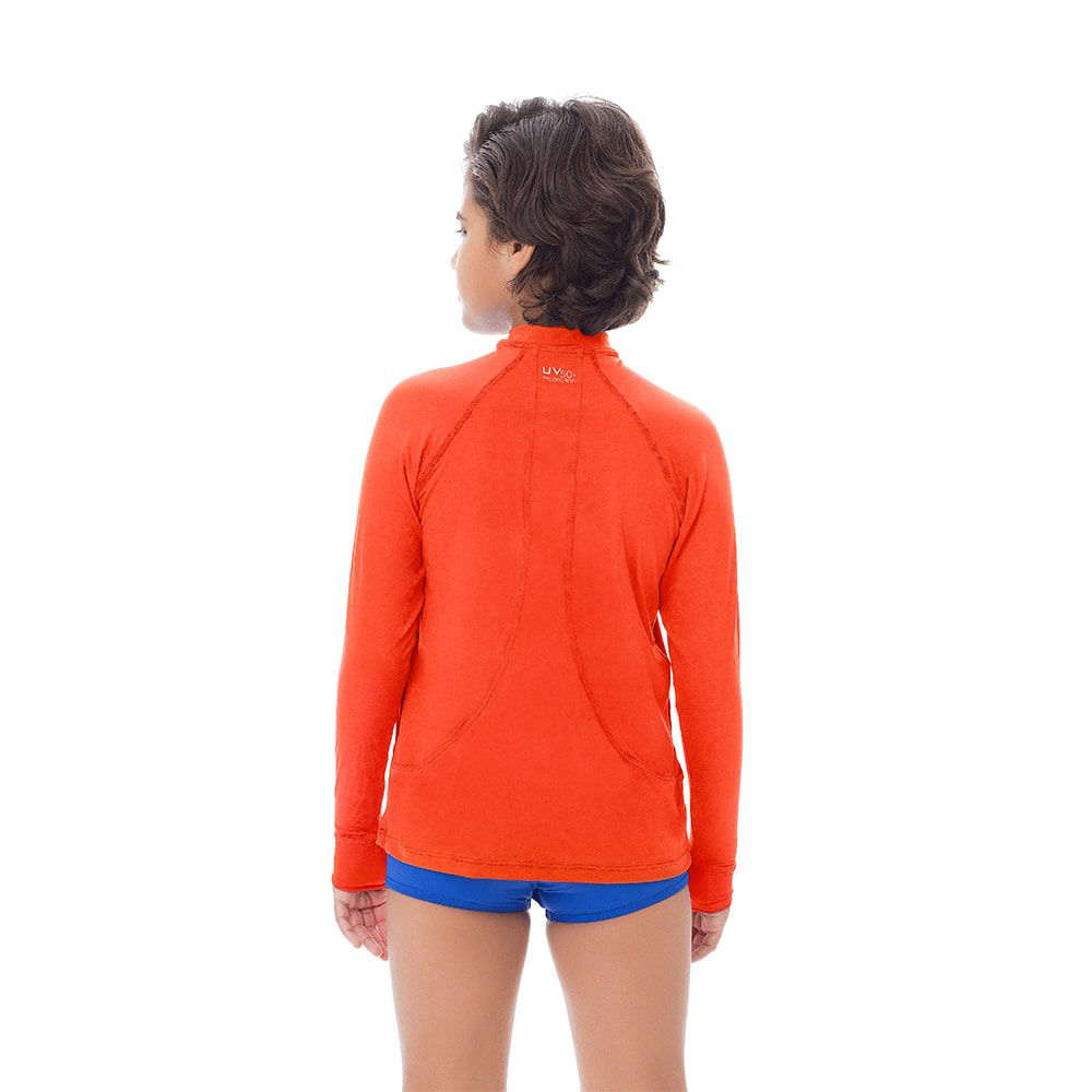 Camisa UV Masculina Juvenil +50 Lisa Laranja