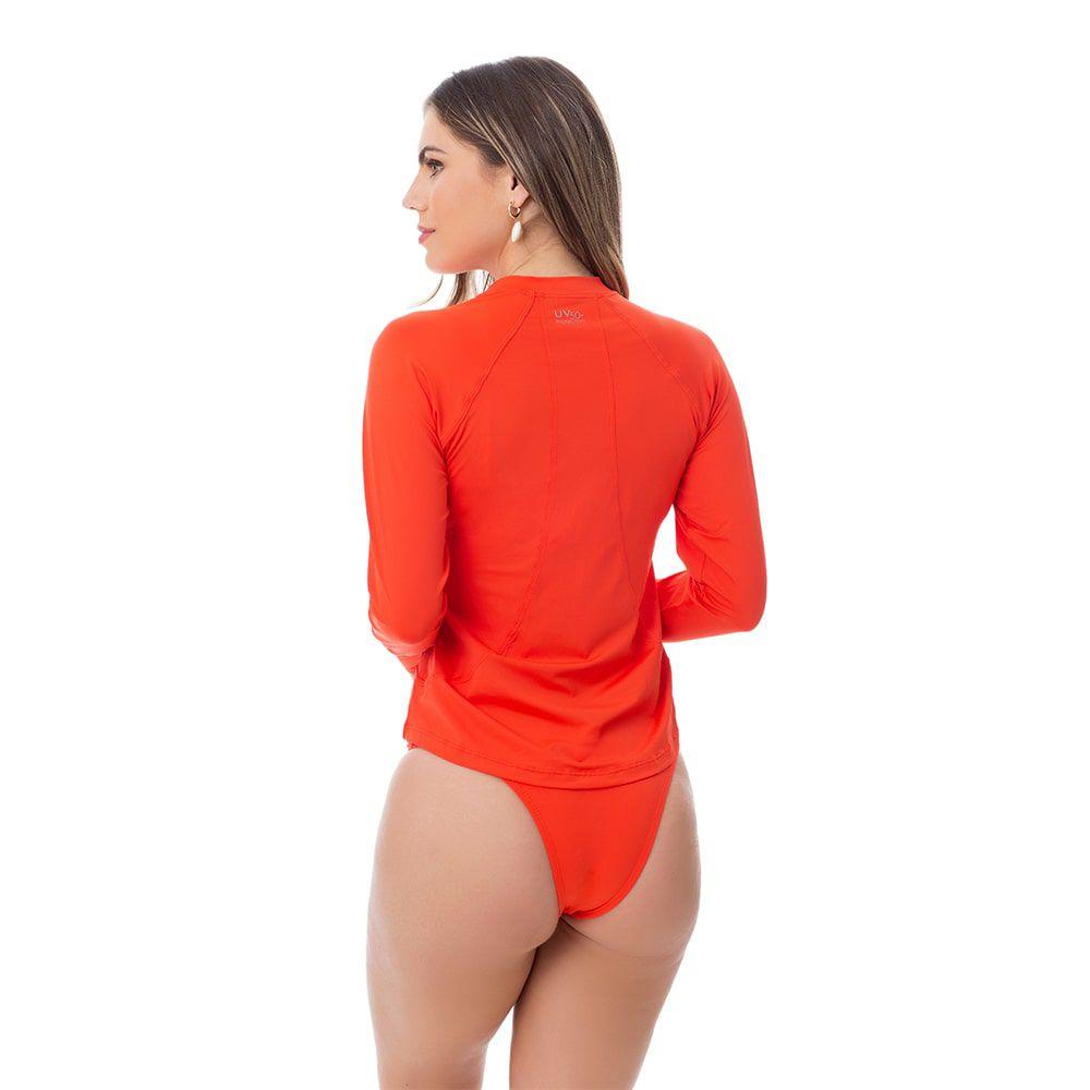 Camisa UV Feminina Adulta +50 Laranja Manga Longa