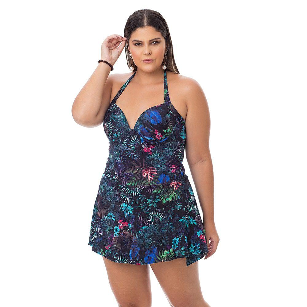 Maiô Estampado Plus Size Folhagem Escura com saia embutida