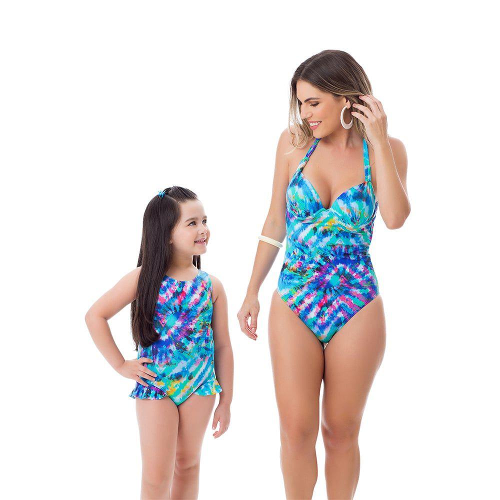 Maiô Body Estampado Mãe e Filha Azul