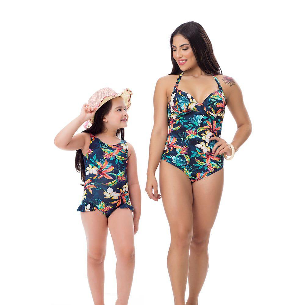 Maiô Body Estampado Mãe e Filha Floral