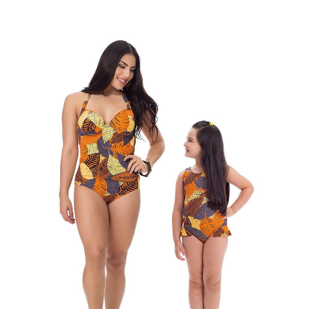 Maiô Body Estampado Mãe e Filha Folhas