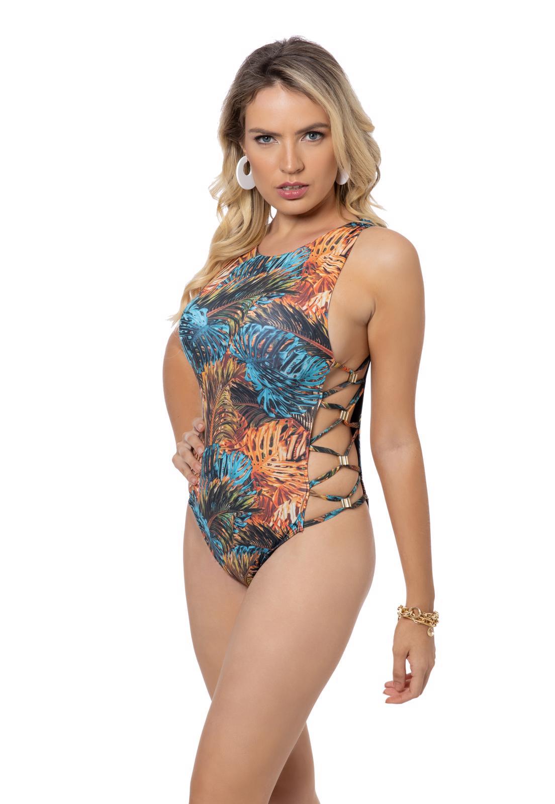 Maiô Estampa Floral laraja e azul com Trançado Lateral
