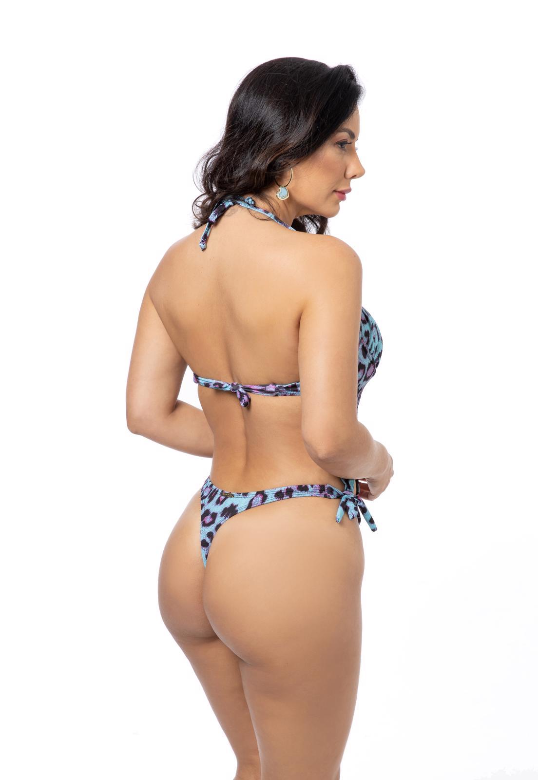 Maiô Estampa Leopardo Rosa com Amarração Lateral