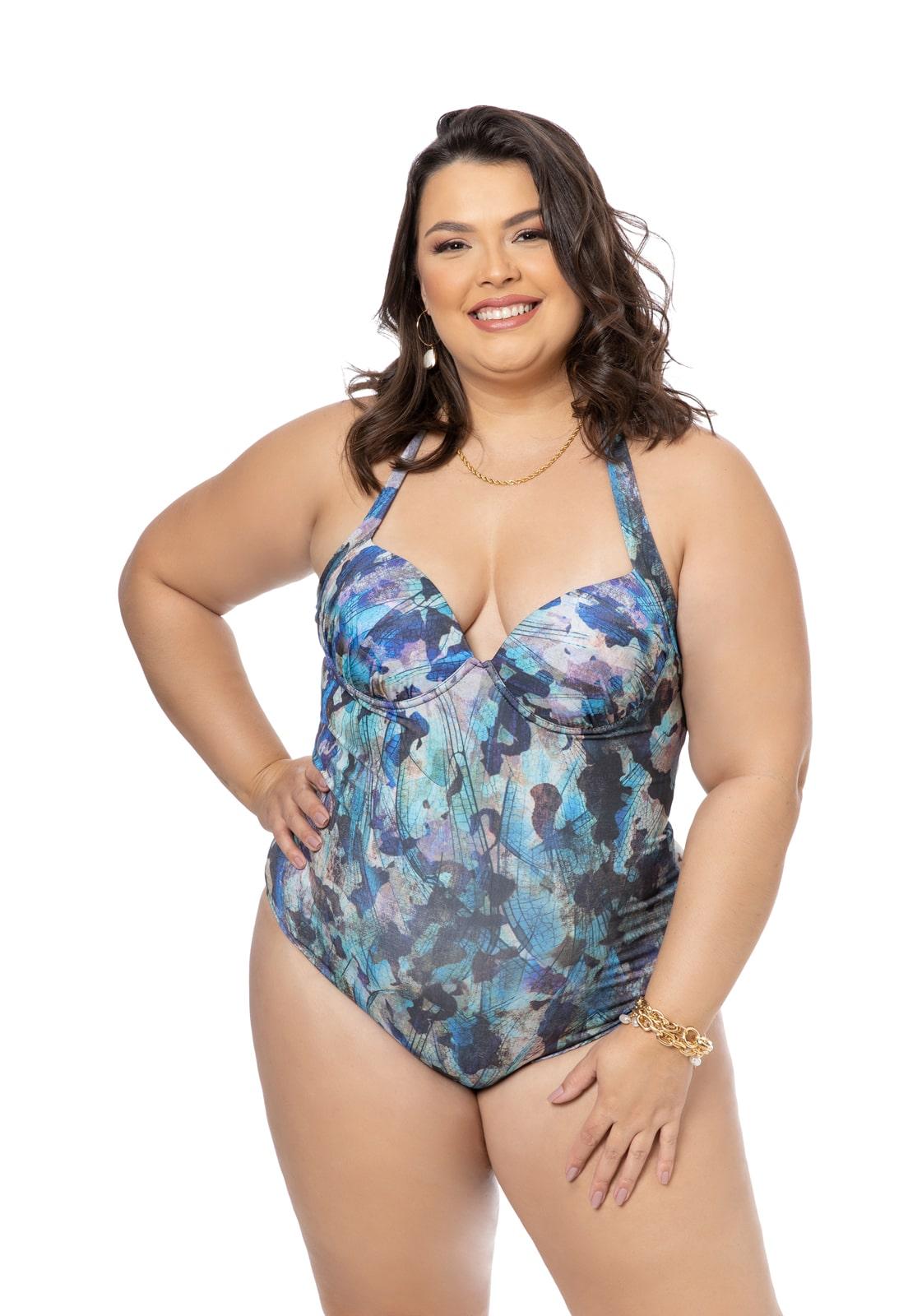 Maiô Estampado Azul Plus Size
