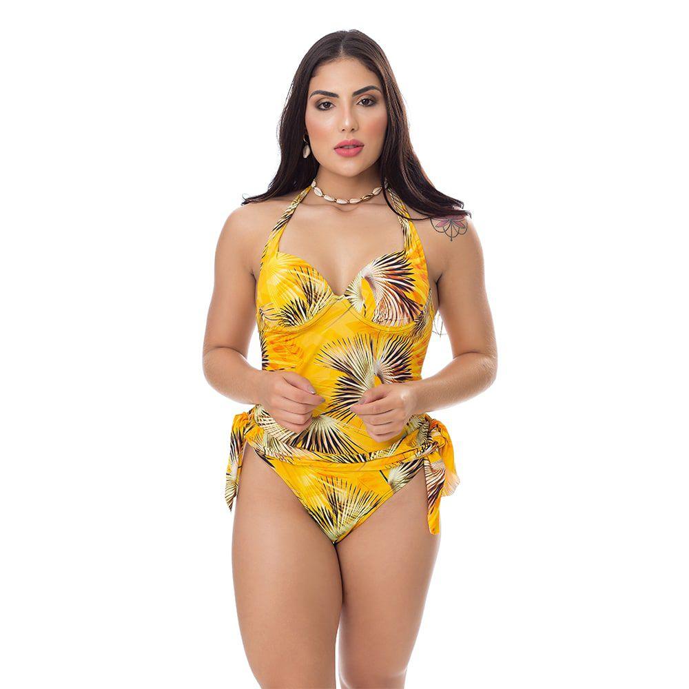Maiô Estampado com saia embutida Folhas Amarelo