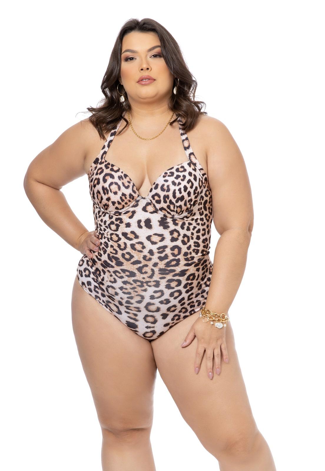 Maiô Estampado Leopardo Plus Size