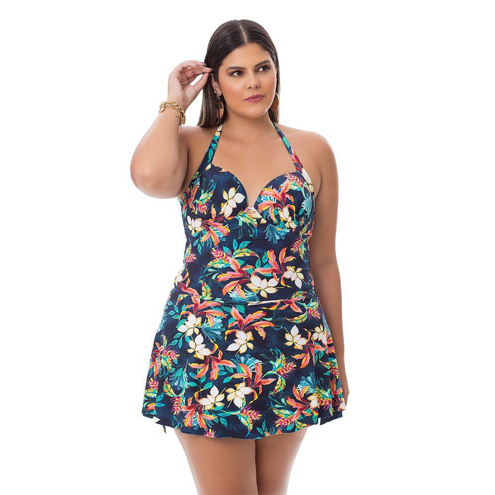 Maiô Estampado Plus Size Floral com saia embutida