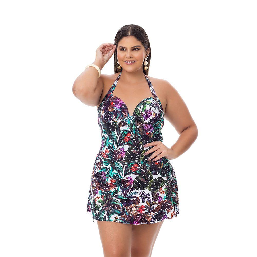 Maiô Estampado Plus Size Folhagem com saia embutida