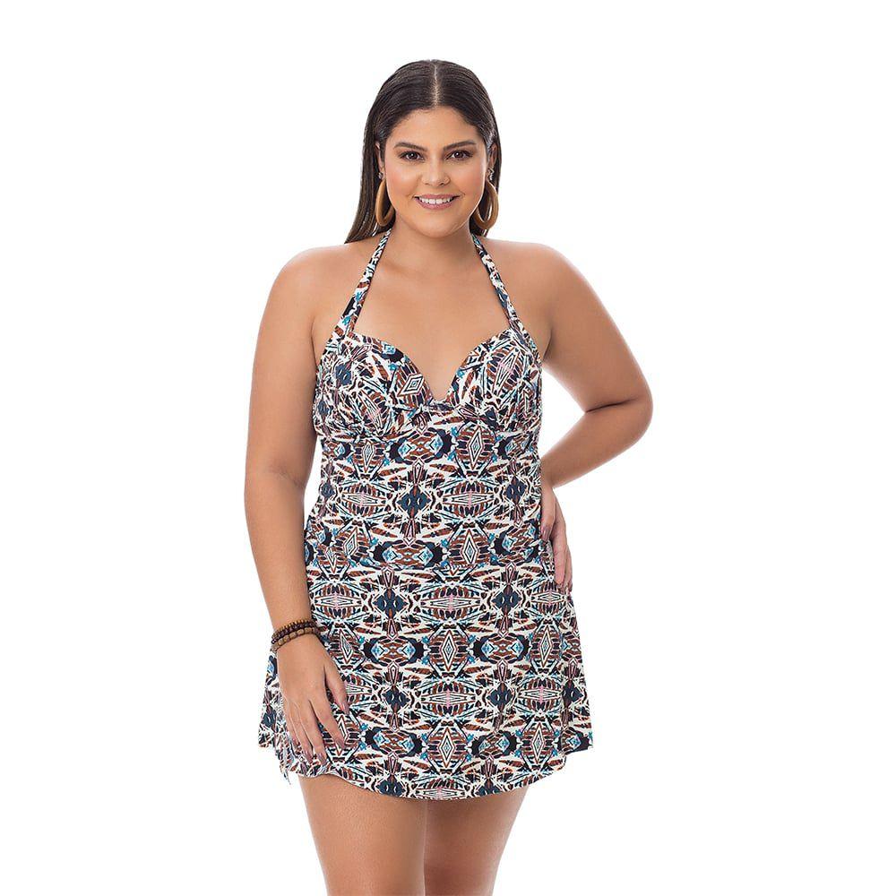 Maiô Estampado Plus Size Geométrico com saia embutida