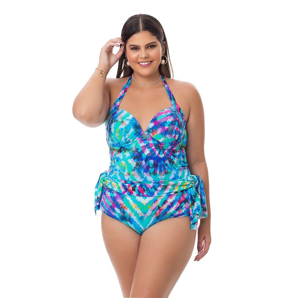 Maiô Estampado Plus Size Detalhe Azul com saia embutida