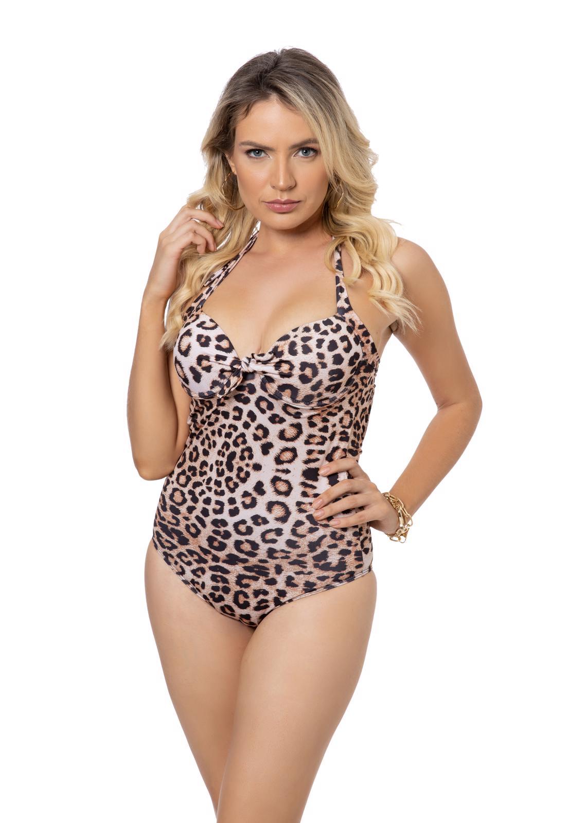 Maiô Leopardo com Amarração Frontal