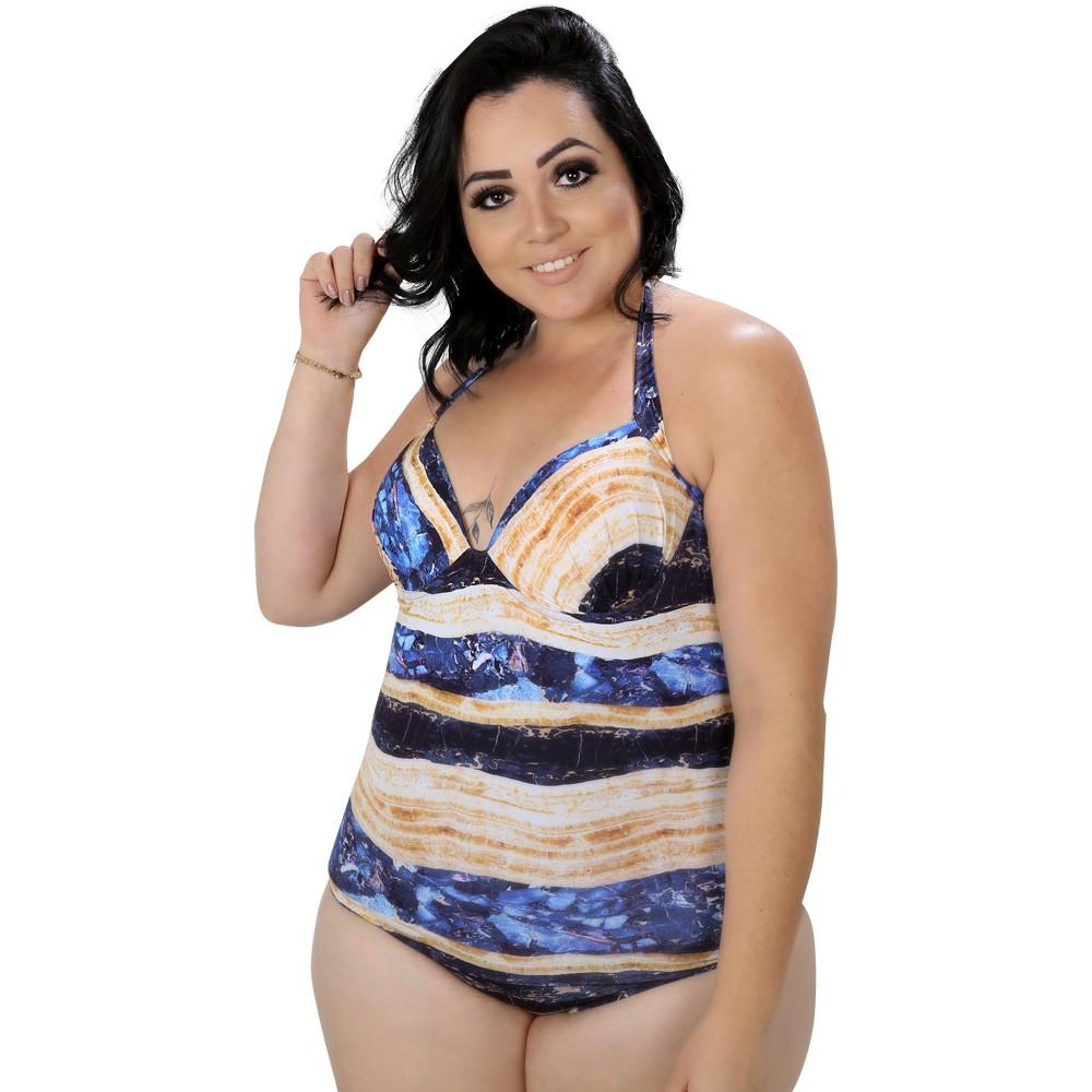 Maiô Plus Size Estampado Azul e Bege