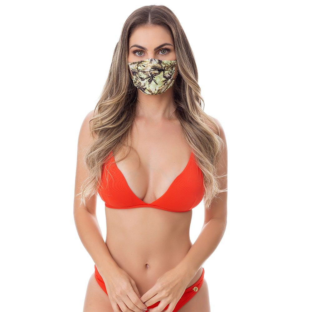 Máscara de Poliamida e Elastano Estampada de Coqueiros