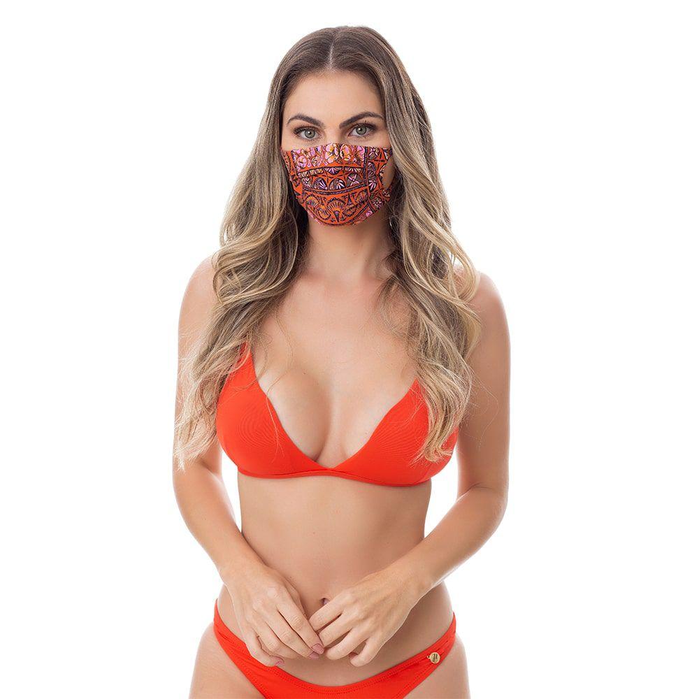 Máscara de Poliamida e Elastano Estampada Indiana