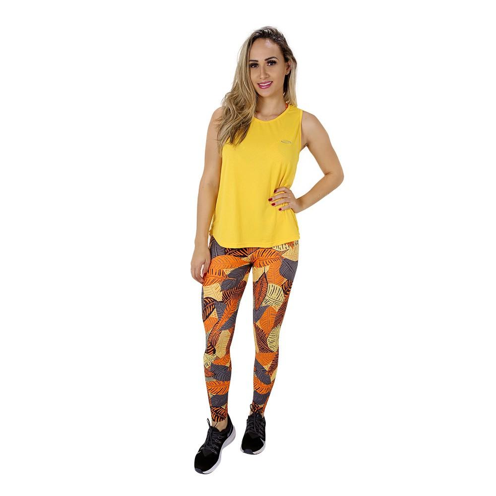 Regata Fitness Feminina Lisa Amarela Poliamida