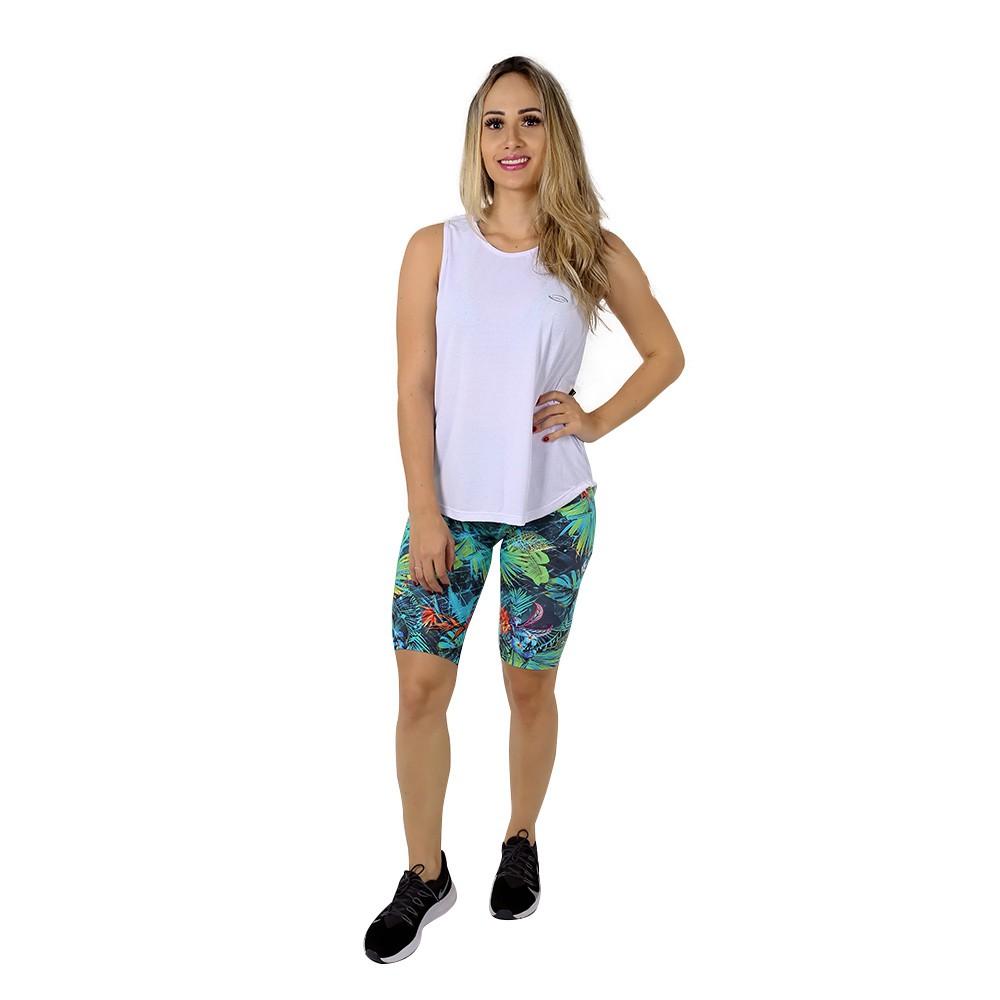 Regata Fitness Feminina Lisa Branca Poliamida