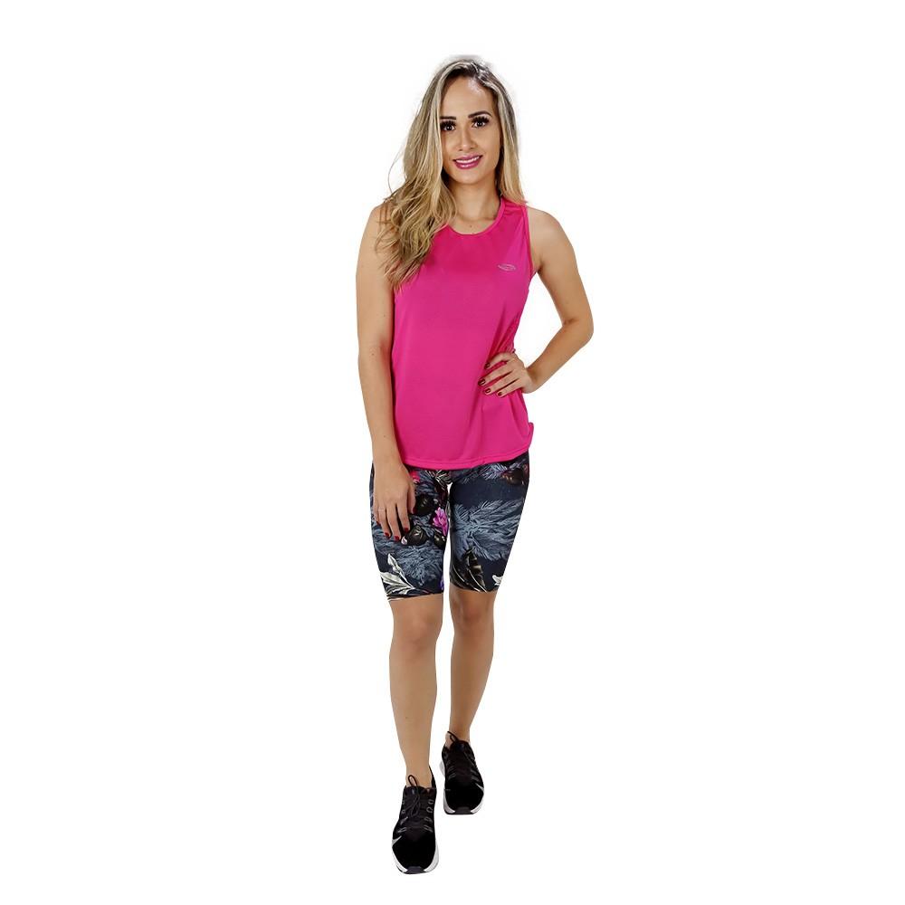 Regata Fitness Feminina Lisa Rosa Poliamida