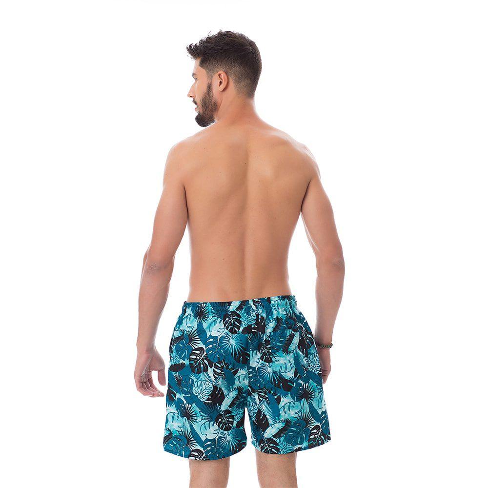 Short de praia Masculino Estampado Folhagem Escura