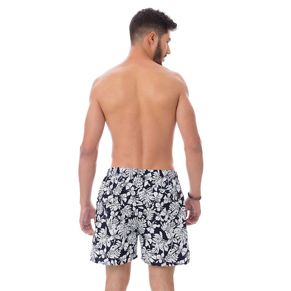 Short de praia Masculino Estampado Folhas Preto e Branco