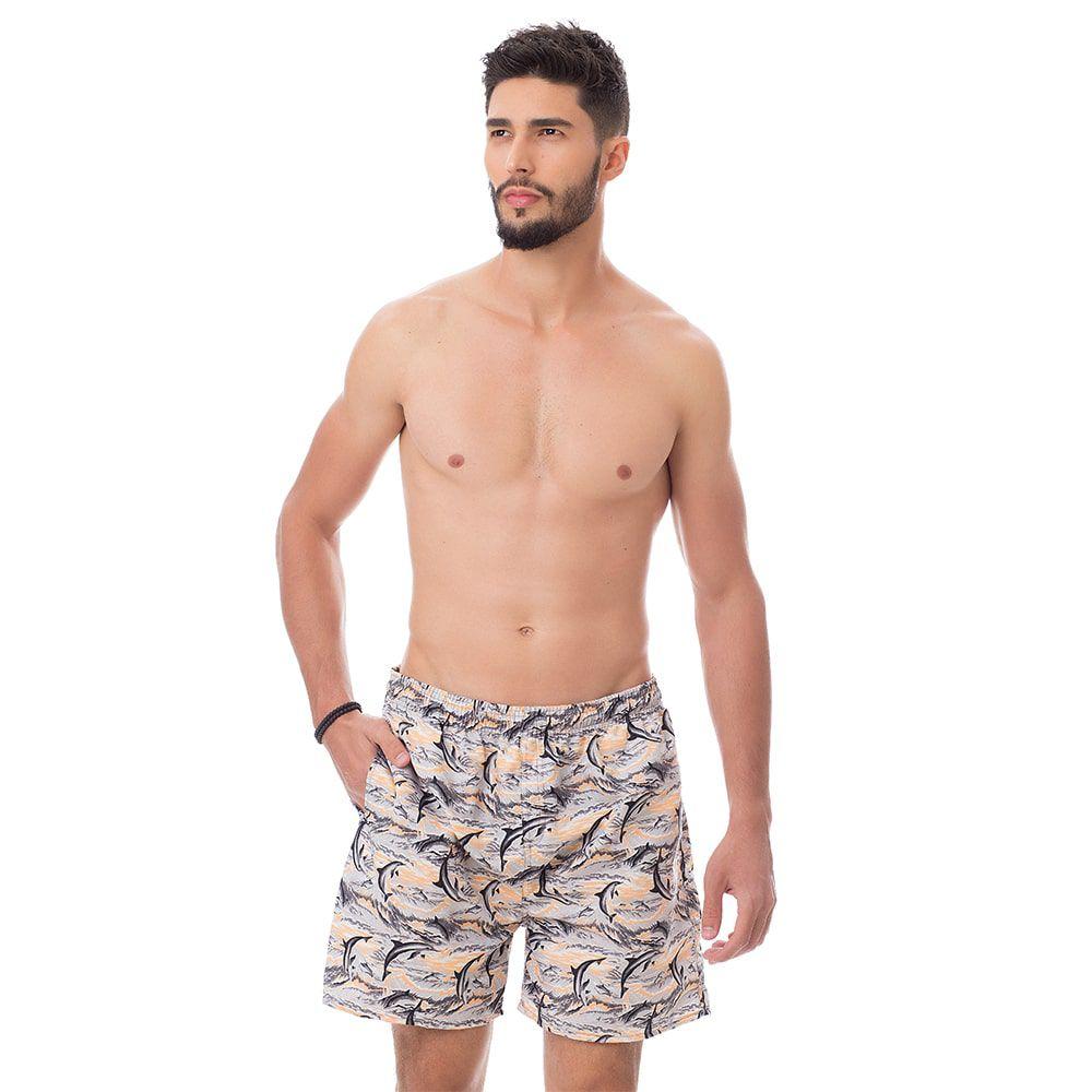 Short de praia Masculino Estampado Golfinhos