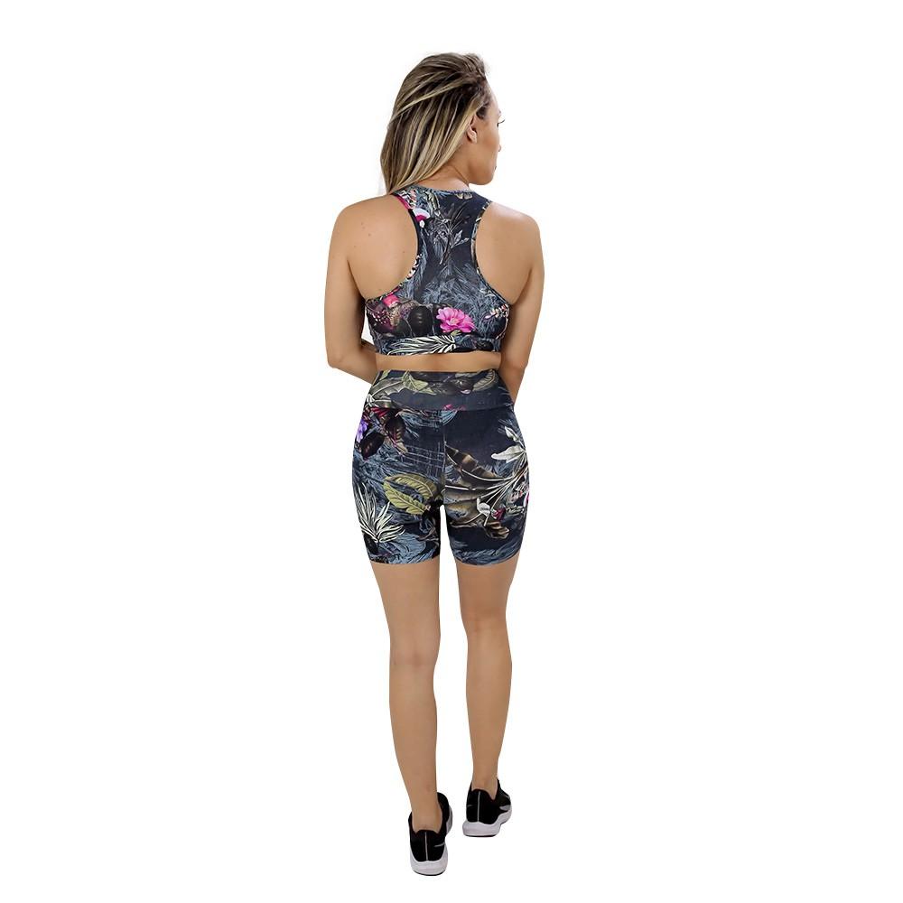 Short Fitness de Academia Feminino Estampado Folhas Escuras Cintura Alta