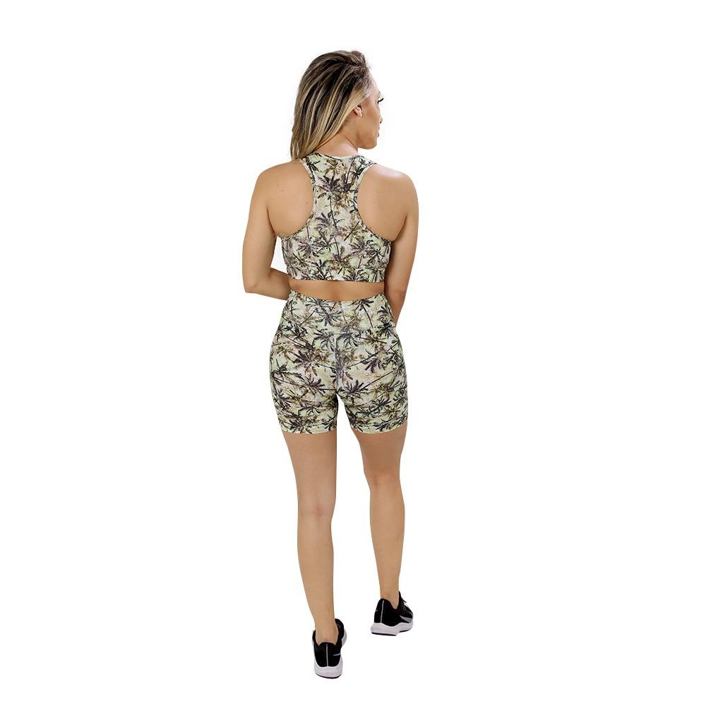 Short Fitness de Academia Feminino Estampado Palmeiras Cintura Alta