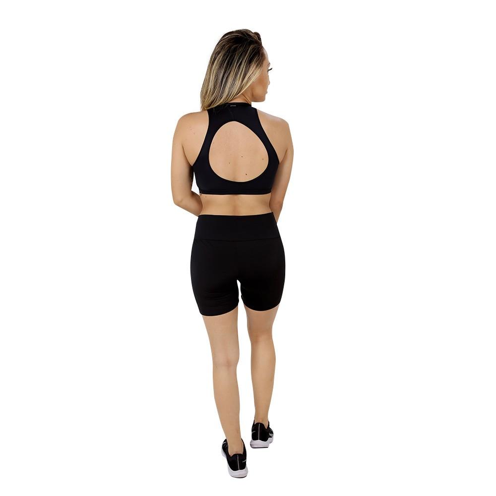 Short Fitness de Academia Feminino Preto Liso Cintura Alta
