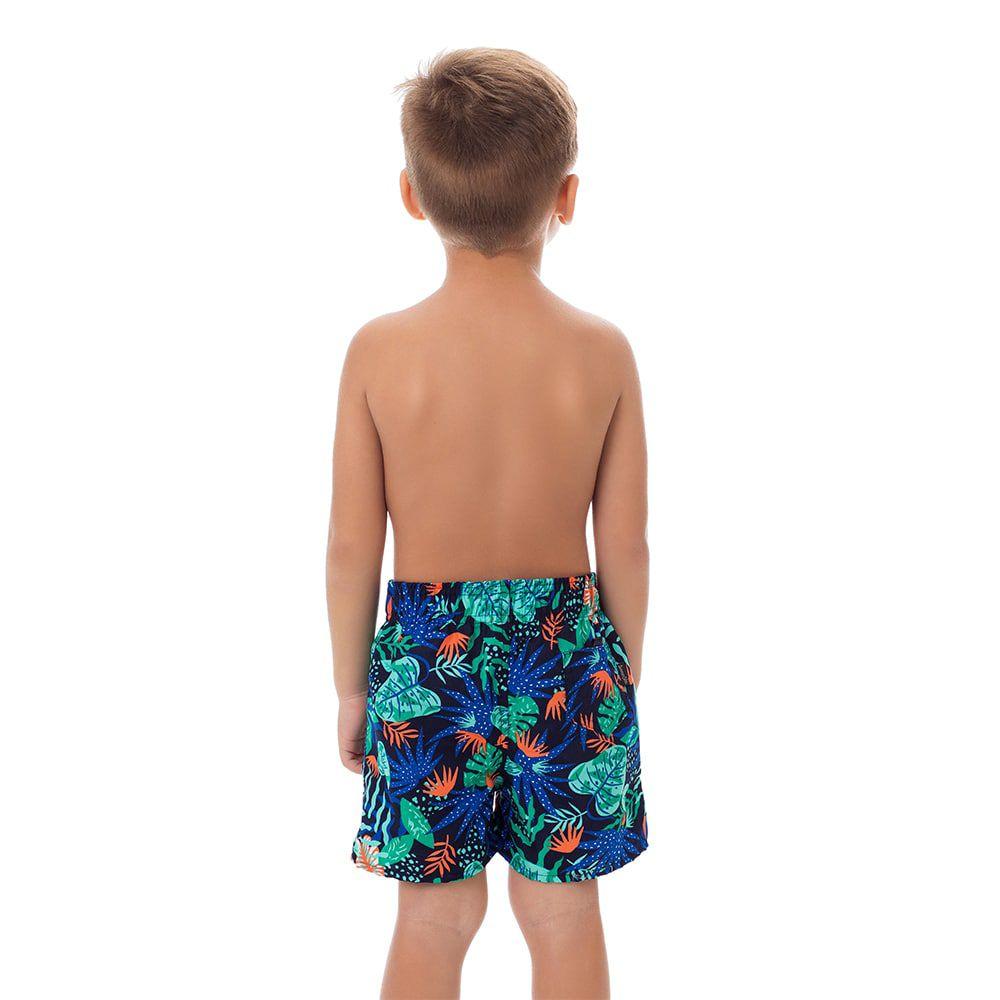 Short Infantil Masculino Estampado Folhagem