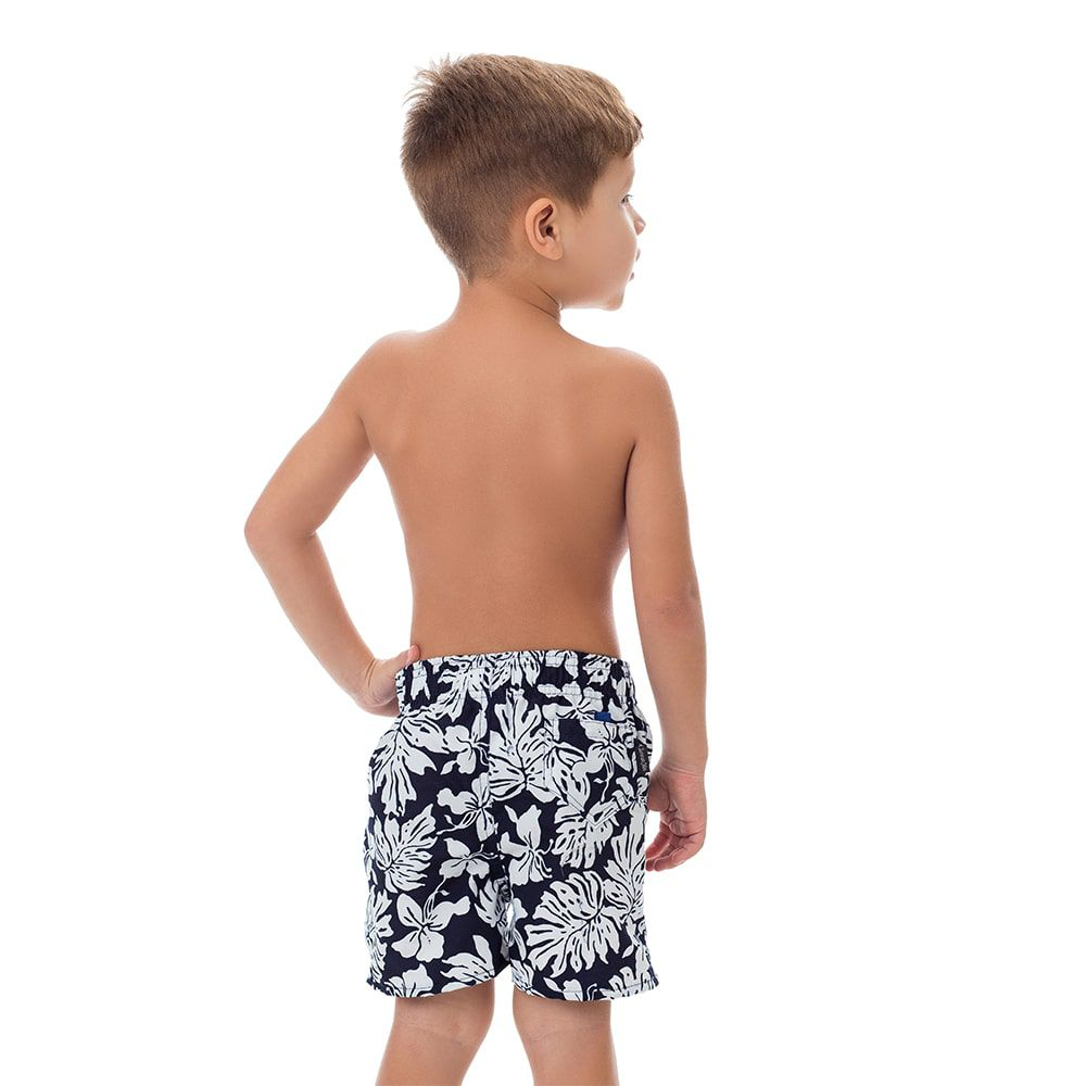 Short Infantil Masculino Estampado Folhagem Preto e Branco