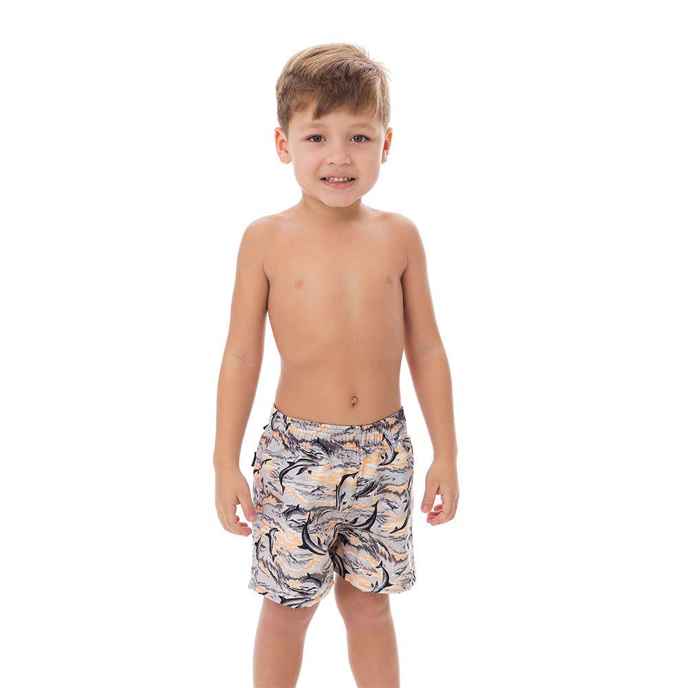 Short Infantil Masculino Estampado Folhas Envelhecidas
