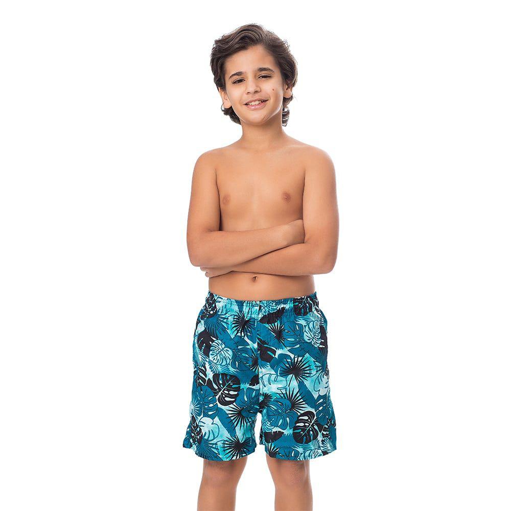 Short Juvenil Masculino Estampado Folhagem Azul Marinho