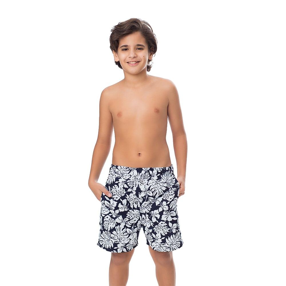 Short Juvenil Masculino Estampado Folhagem Preto e Branco