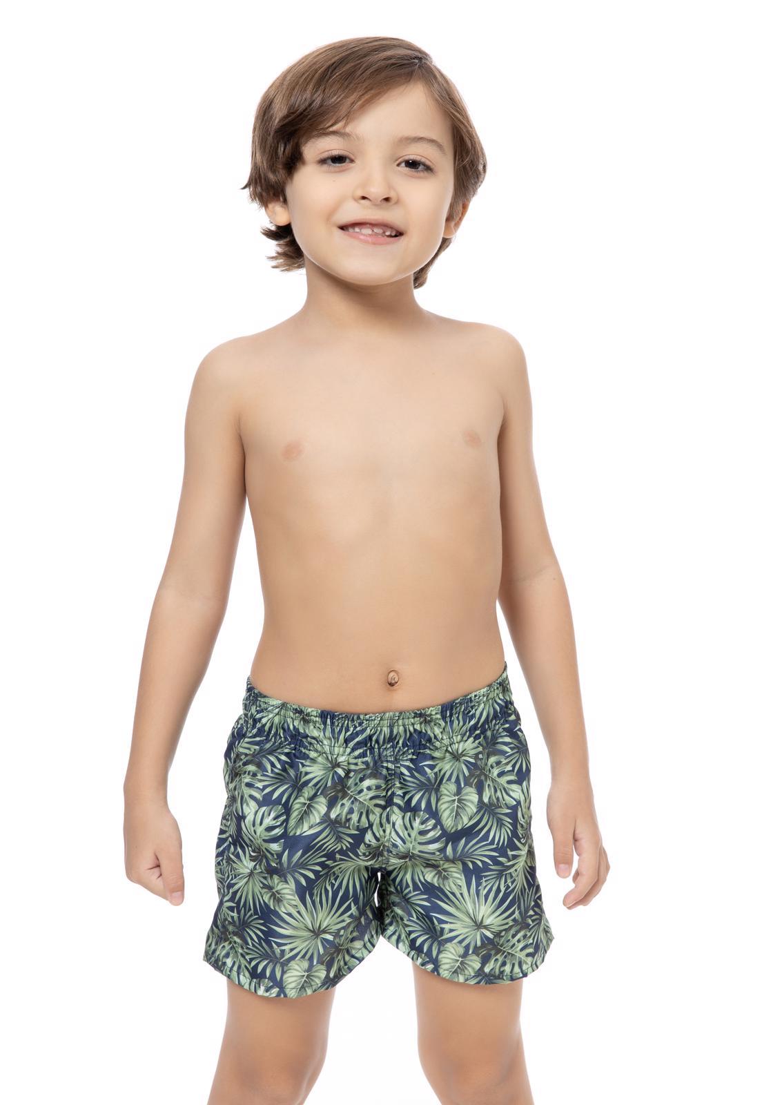 Short Masculino Infantil Estampado Flores