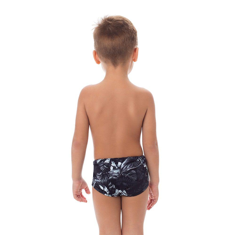 Sunga Boxer Infantil Estampada Folhas Pretas