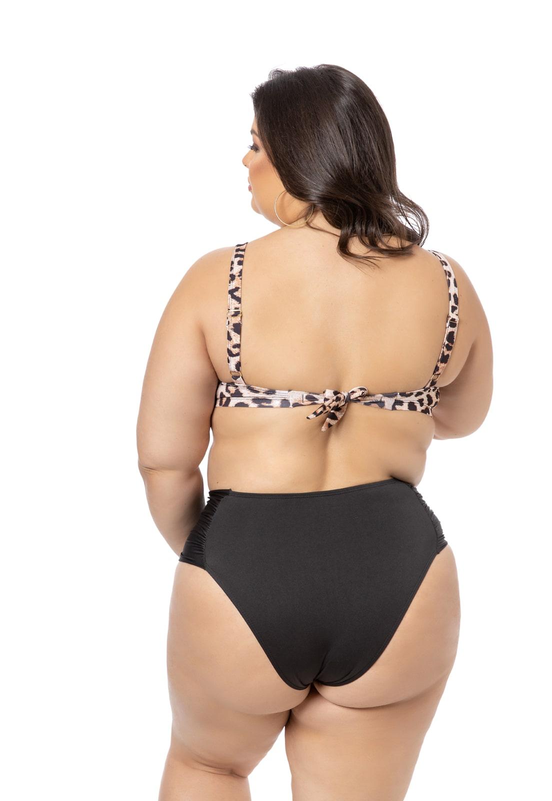 Sutiã Biquíni Bojo Estampa Leopardo Plus Size