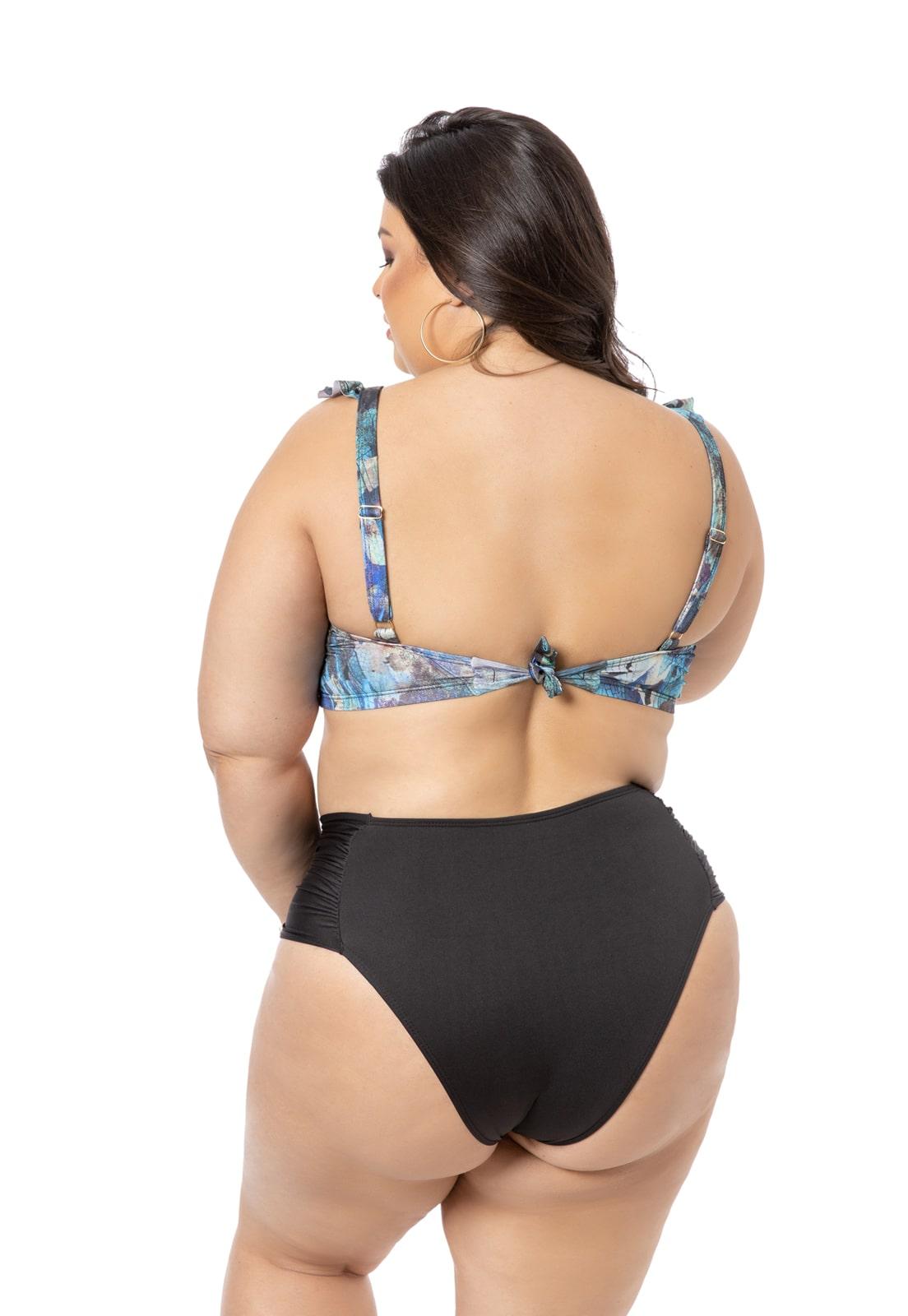 Sutiã Biquini com Bojo Azul com Babado Plus Size